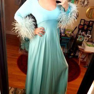 VTG Lillie Rubin 700 Disco Feathered Maxi Dress